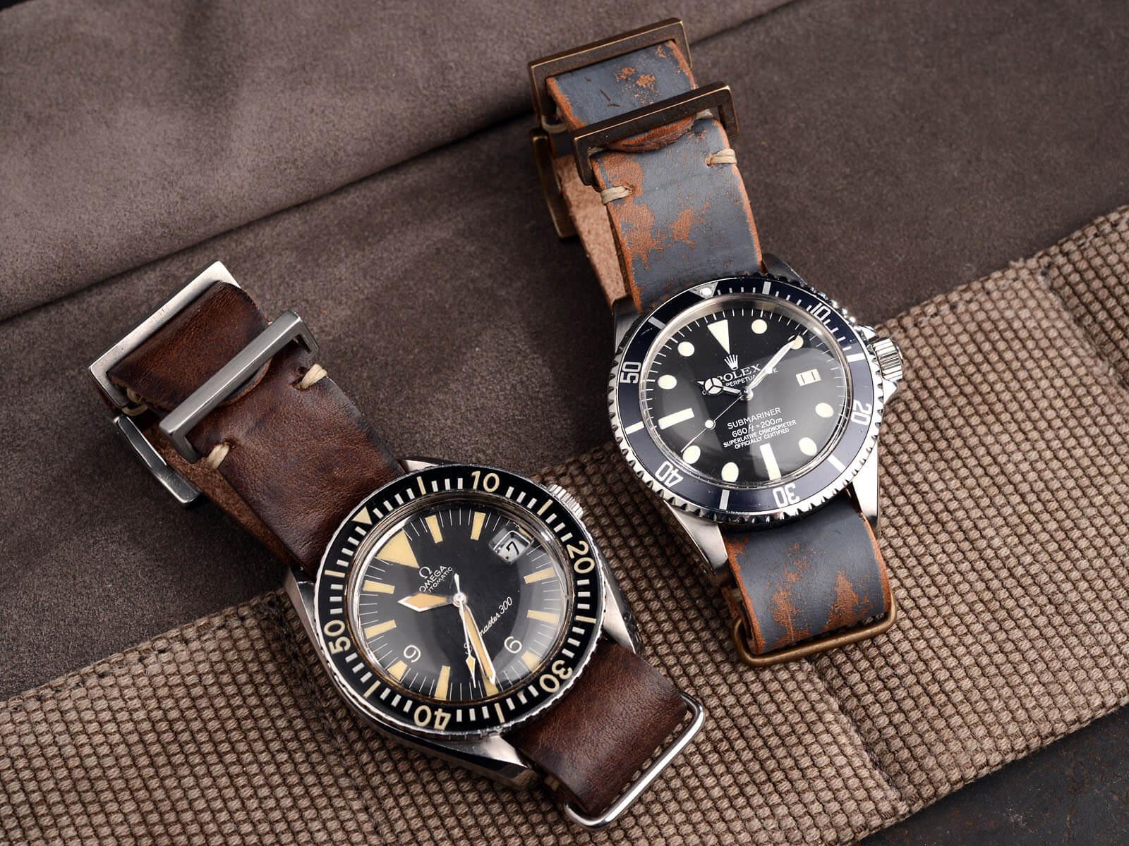 Nato vintage - klockarmband i äkta läder.